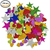 1.9 Ounce 150 pieces Foam Glitter Stickers, Star and Mini Heart Shapes