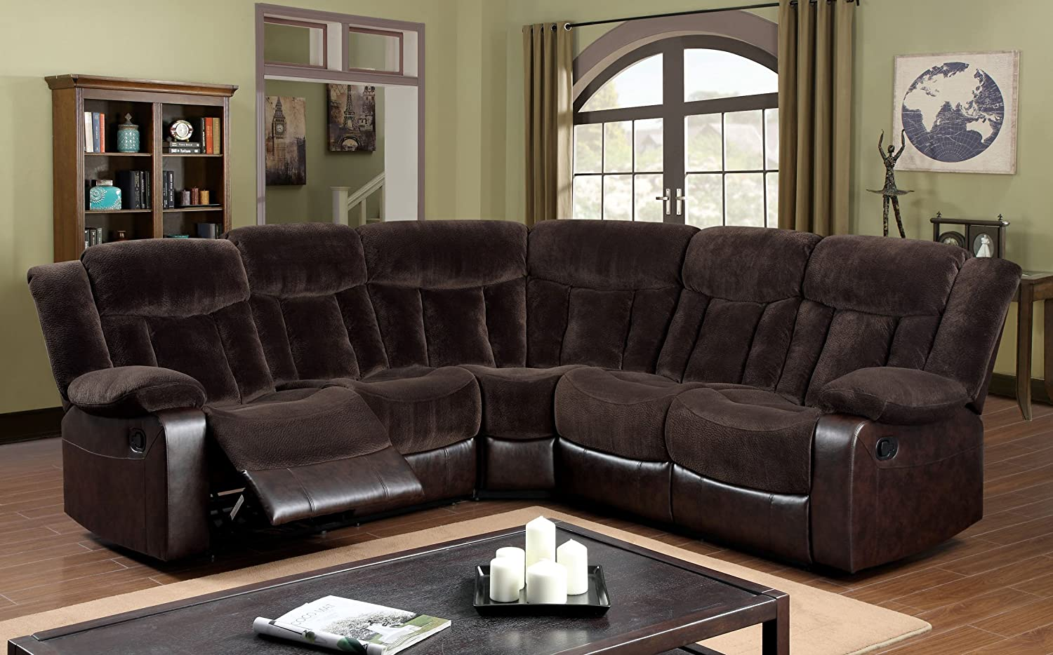 Furniture of America Patton Sectional 2-Recliner Sofa