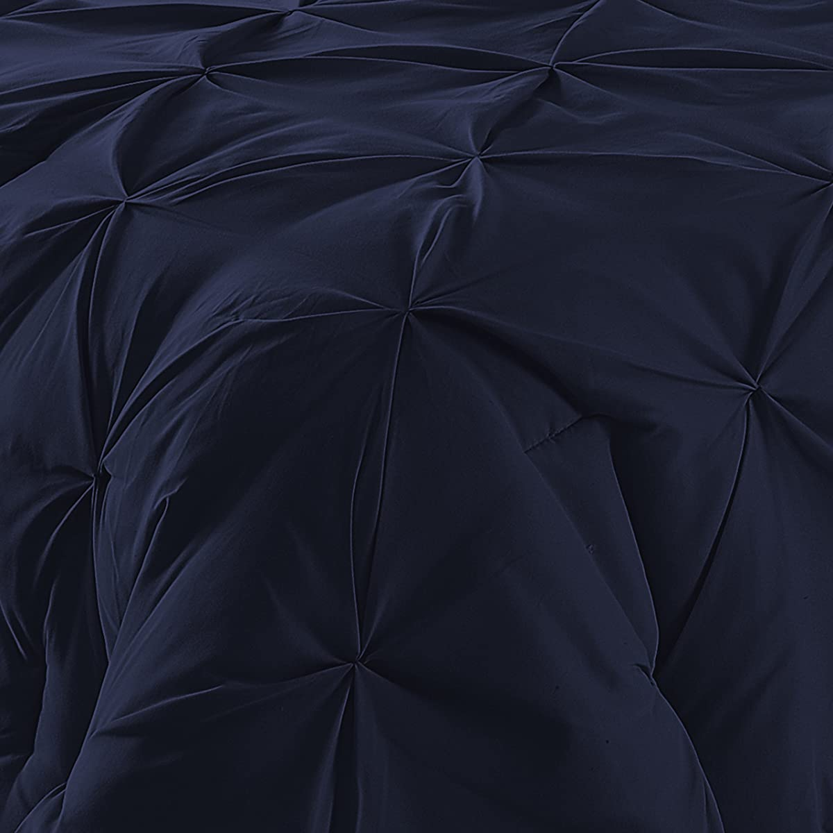 Double-Needle Durable Stitching Comfy Bedding 3-piece Pinch Pleat Comforter Set (King, Navy Blue)
