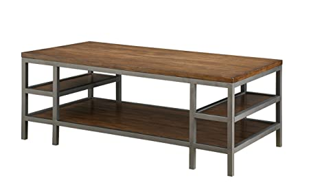 Furniture of America Jassie Industrial Coffee Table with Open Shelves