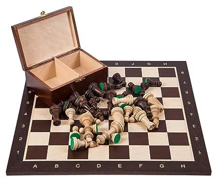 Pro Set de jeu d'échecs no 6 - WENGE - Échiquier + Pièces d'échecs - Staunton 6