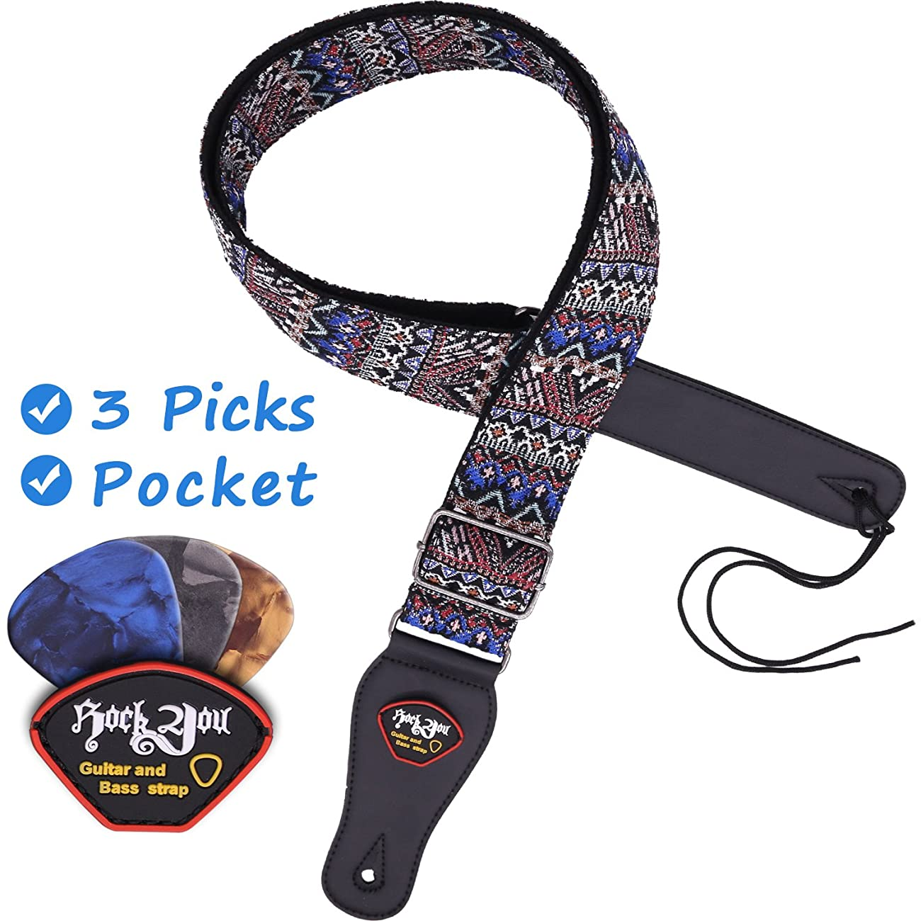 Anwenk Guitar Strap Acoustic Guitar Strap Bass Guitar Strap Woven Hootenanny Style Cool Vintage Pattern with Pick Pocket ,, Leather Ends, 3 Pcs of Guitar Picks, Ties for Acoustic Guitars 6