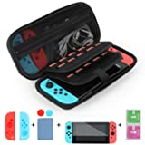 Case for Nintendo Switch and Accessories with Tempered Glass Screen Protector and 20 Game Cartridges Holders Waterproof Protective Hard Shell Travel Carrying Case by DOTONE
