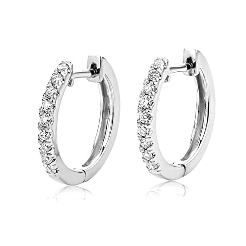 Miore 9ct White Gold Diamond Set Hoop Earrings SA954E
