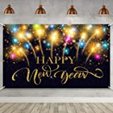 Happy New Year Party Decoration Supplies, Extra Large Fabric Happy New Year Banner for 2020 Party Decoration, 2020 New Year Fireworks Photo Booth Backdrop Background Banner, 72.8 x 43.3 Inch