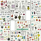 Foxjoy Temporary Tattoos, 200 Designs, 10 Sheets, 6x4 inches (Rapper) (Color: Multicolored)