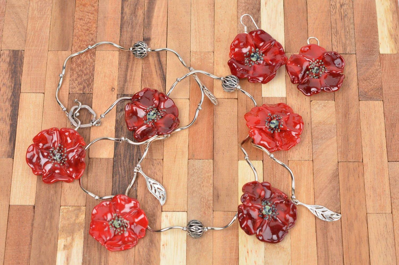 Schmuck aus Glas Handmade Schmuck Set Damen Ohrringe rot modisch Damen Collier als Weihnachtsgeschenk kaufen
