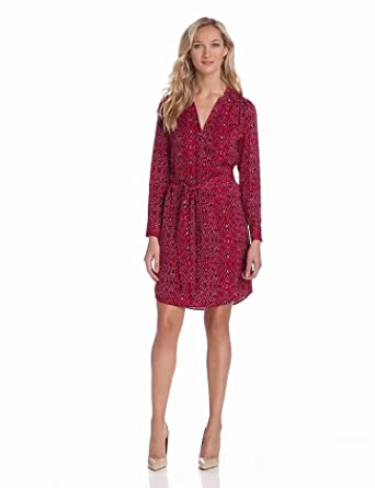 Lilla P Women's Rinted Woven Chinese Collar Dress With Self Belt, Berry Print, Small