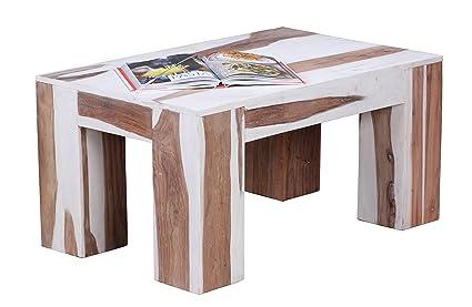 Wohnling wL1.360 gekälktes table basse en bois de sheesham massif 88 x 55 x 43 cm