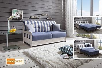 Verkauf Schlafsofa Campus Blau Weiss Stoff Sofa Couch Massiv Holz