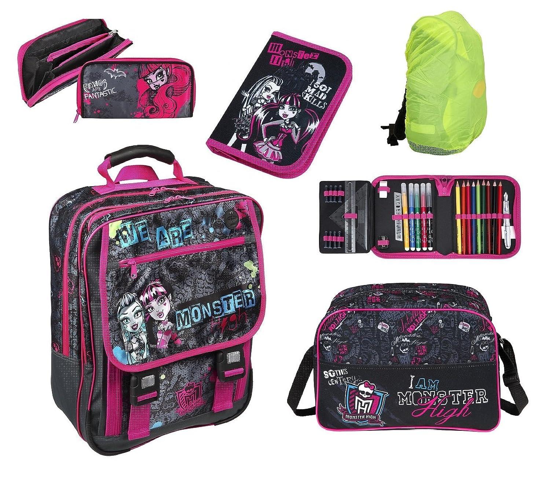 Monster High großes Schulrucksack Set 5-tlg. MHCP8300+ Federmappe gefüllt + Sporttasche + Regen-/Sicherheitshülle günstig