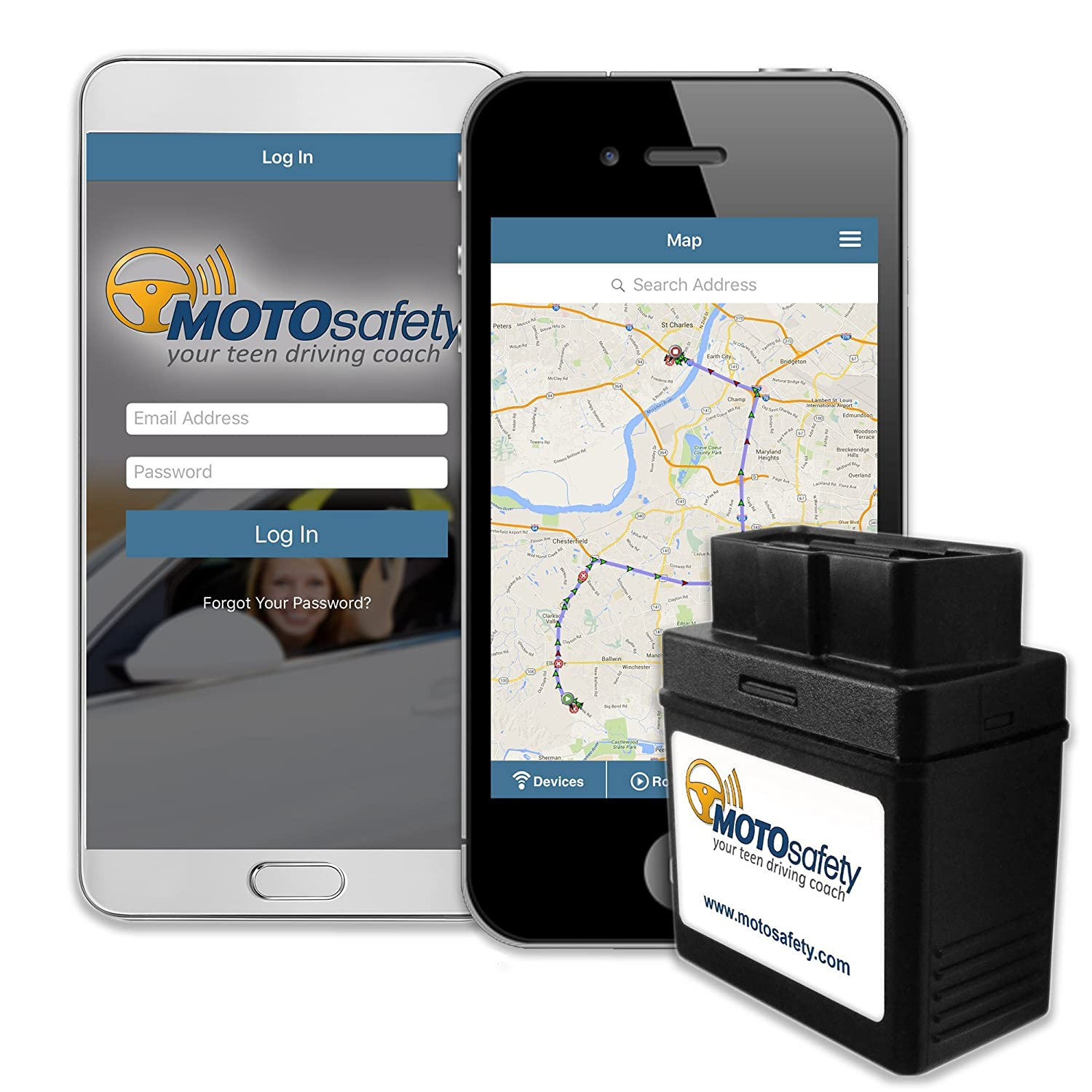MOTOsafety GPS Tracker & Driving Coach, Vehicle Tracking System & OBD GPS Device MPVAS1