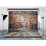 LB Vintage Brick Wall Photo Backdrops 8x8ft Poly Fabric Wood Floor Photography Background for Wedding Smash Cake Birthday Party Portraits Photo Booth Backdrop (Color: Brown 20, Tamaño: 8'x 8')