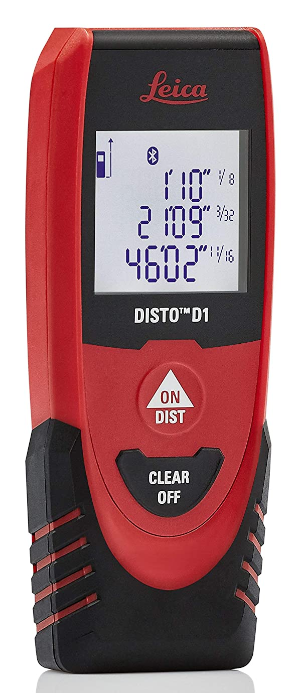 Leica DISTO D1 130ft Laser Distance Measure with Bluetooth 4.0, Black/Red (Renewed)