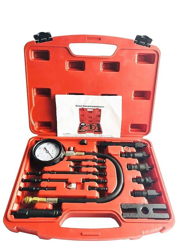 GooMeng 16PCS Professional Diesel Engine Cylinder Compression Tester Tool Kit Set,Full Range Diesel Engine Cylinder Detection Table Pressure Gauge Tester Kit Set (TU-15B)