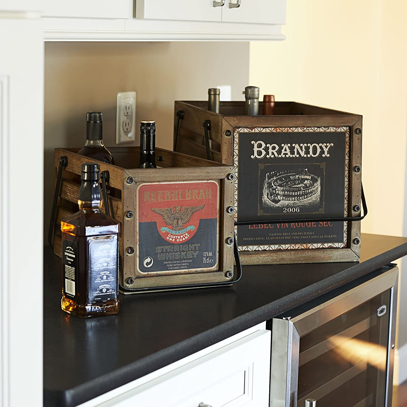 Household Essentials Whiskey Design Decorative Wood Crate for Storage, Small, Brown 3