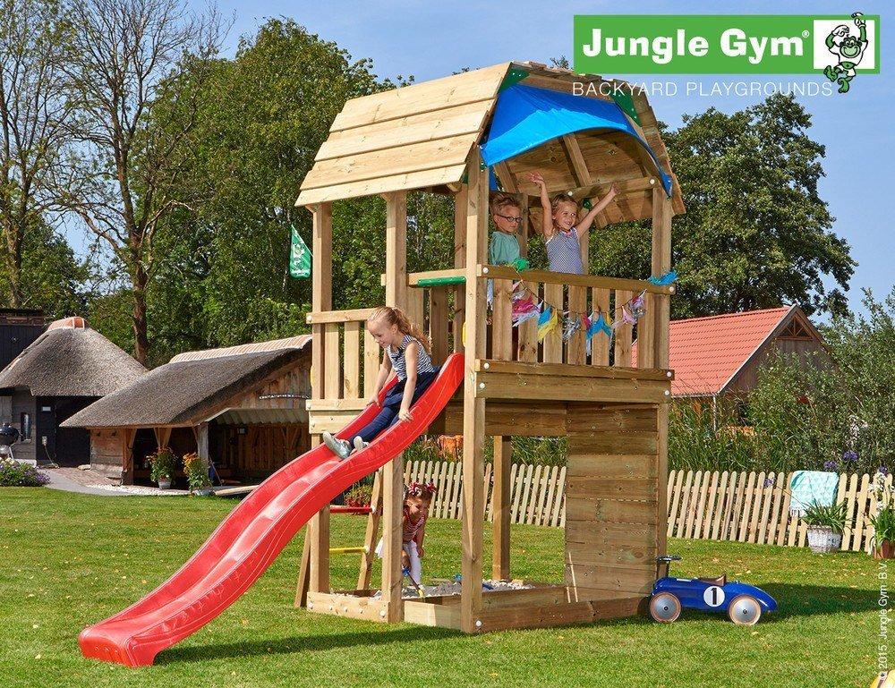 Spielturm Jungle Barn – Set mit Feuerwehrstange Sandkasten Kletterturm – Jungle Gym (inkl. Holzpaket) günstig online kaufen