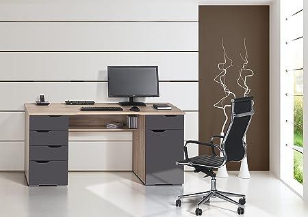 Computertisch Schreibtisch MAJA in sonoma Eiche - Hochglanz grau 160x74,5x67cm Burotisch