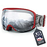 Wildhorn Cristo Ski Goggles - US Ski Team Official Supplier - Snow Goggles for Men, Women & Youth (Color: Crimson-Silver)