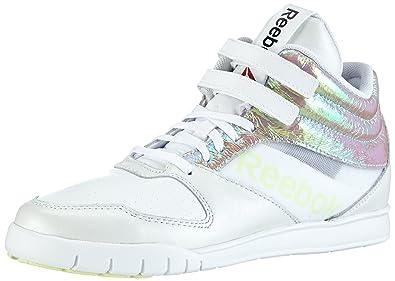 Reebok Women's Dance Urlead Mid Se White and Citrus Glow Mesh Dance Shoes