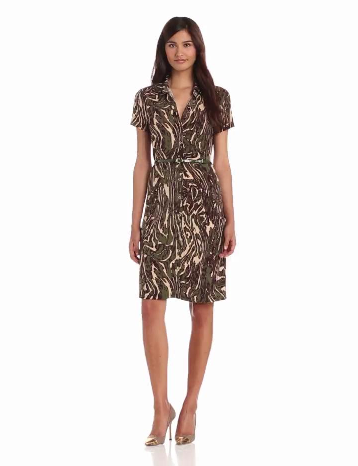 Anne Klein Womens Moire Print Dress, Dark Olive Multi, X Small