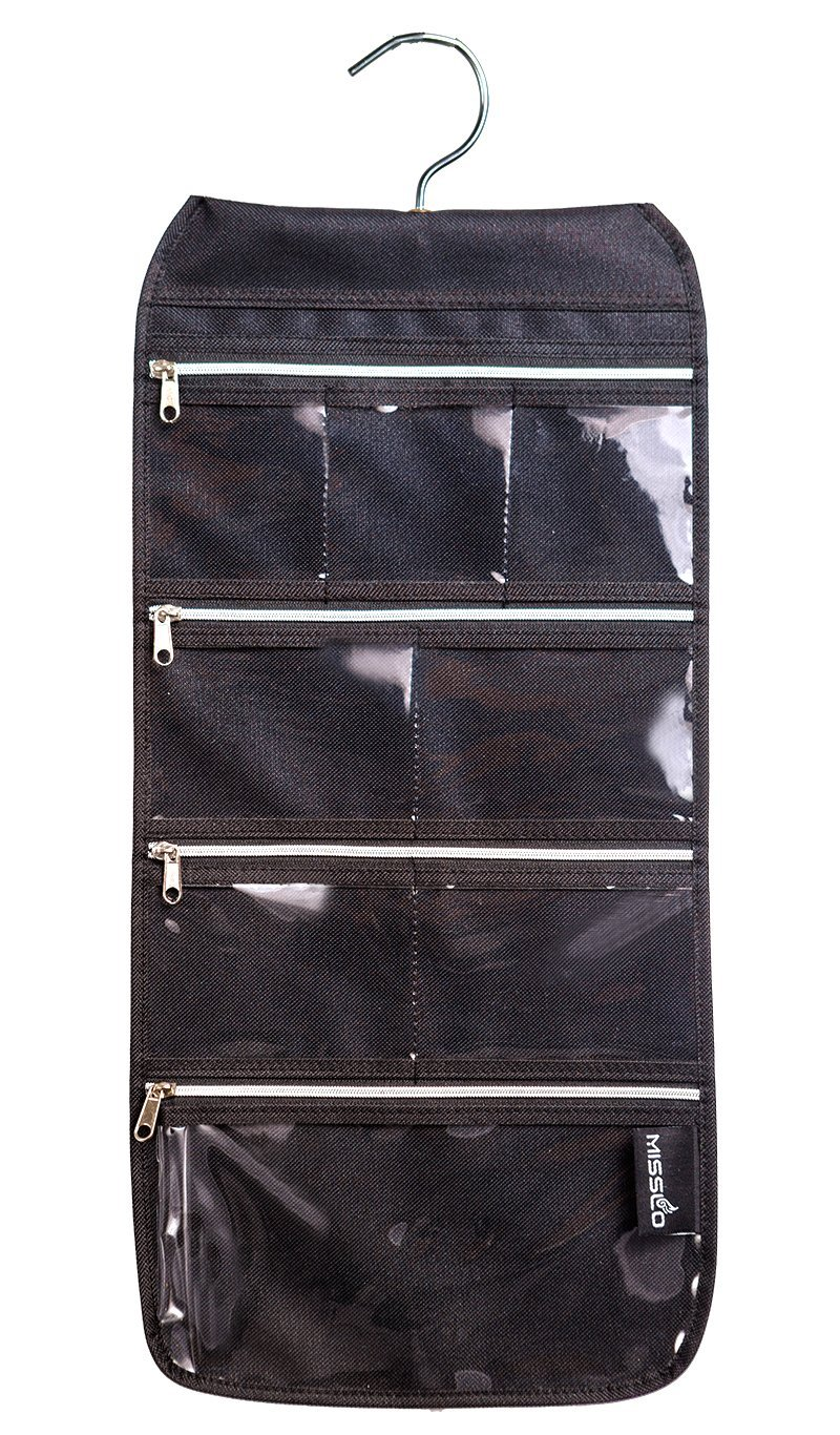 misslo 8 zippered pockets travel jewelry roll up organizer with rotatable hanger ebay. Black Bedroom Furniture Sets. Home Design Ideas