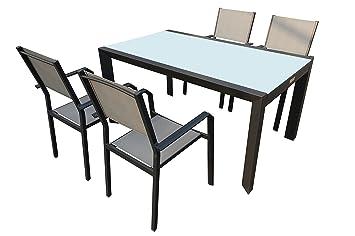 VILLANA Sitzgruppe, anthrazit/grau, Alu/Textil, Glastisch 150 x 90cm, 4 Stapelstuhle