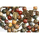 Large Picasso Jasper and Bronze 10mm 5 Decade Natural Stone Bead Rosary Made in Oklahoma (Color: Red, Brown, Green, Gold, Bronze,)
