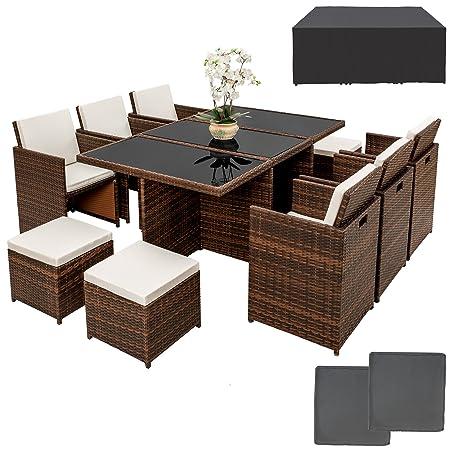 TecTake Poly ratán aluminio sintético muebles de jardín comedor juego 6+4+1 + funda completa + set de fundas intercambiables, - disponible en diferentes colores - (Negro/Marrón)