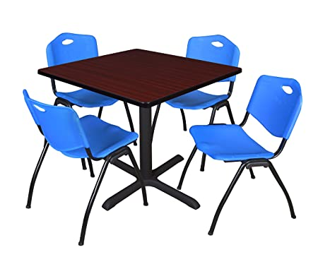Regency Seating 42-Inch Square Mahogany Laminate Table with Cain Base and 4 Blue M Stack Chairs