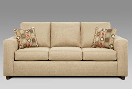 Roundhill Furniture Fabric Sofa with 2 Pillows, Vivid Beige