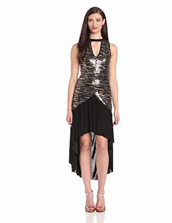 Tbags Los Angeles Women's Sequin Sleevelesss Keyhole Hi Low Dress, Black/Gold Snake, Large
