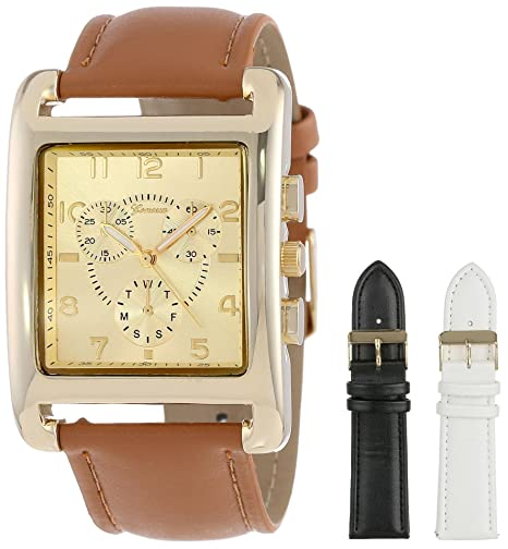 Geneva Women's 2377-setI-GEN Gold-Tone Square Oversized Watch Set with Three Interchangeable Faux-Leather Straps