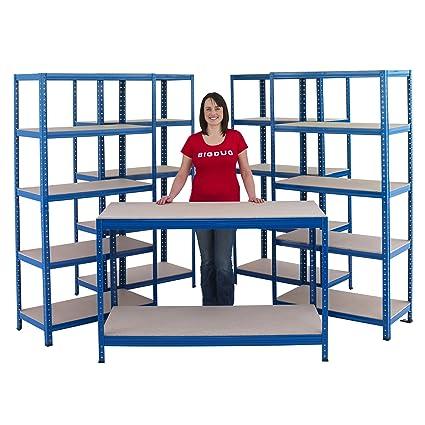 Garage Or Workshop Shelving Storage Starter Kit Including 4 Bays & 1 Workbench (450mm Deep)