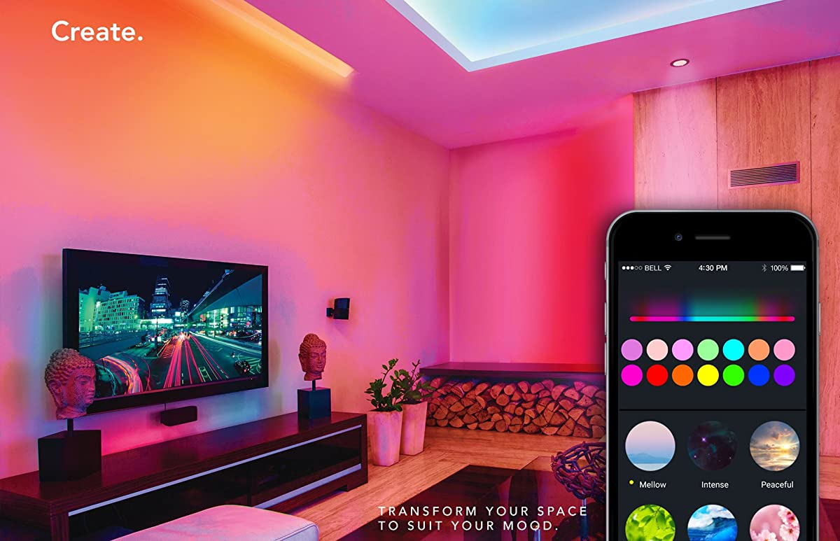 LIFX Z (Starter Kit) Wi-Fi Smart LED Light Strip (Base + 2 meters of strip), Adjustable, Multicolor, Dimmable, No Hub Required, Works with Alexa