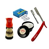 Hot Lather Shave with Barber Razor Folding Knife Vintage Shaving set + Personna Blades + Omega Shaving Brush + Omega Shaving Cream