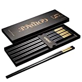 Foster (Goldage) 5-Pairs Fiberglass Dishwasher-safe Chopsticks (LONG VERSION Auspicious Cloud - Gold)