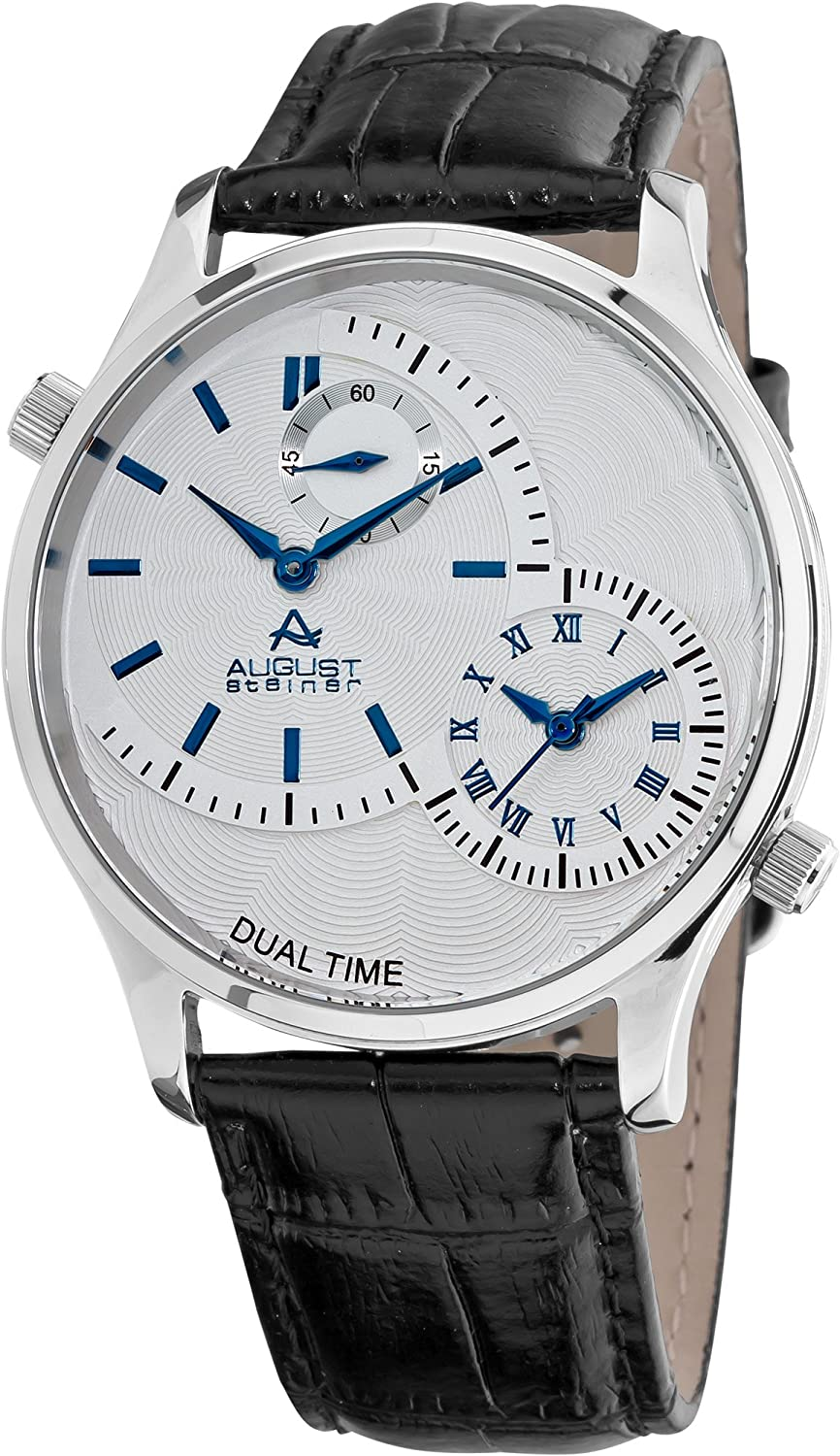 Đồng hồ August Steiner Mens ASA810BU Stainless Steel Dual Time Watch