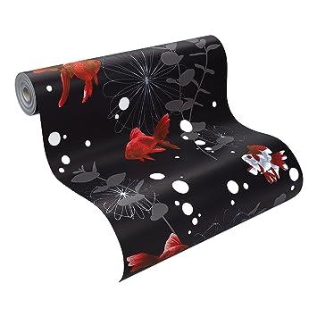Rasch 817508 papier peint en relief motif quot poisson rouge quot noir - Papier peint poisson rouge ...