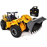 Top Race 10 Channel Full Functional Remote Control Front Loader Construction Tractor, Full Metal Bulldozer Toy Can Dig up to 3.5 Lbs, 1:14 Scale TR-213