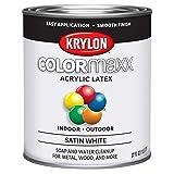 Krylon K05628007 Colormaxx Brush On Paint, Quart, White (Color: White, Tamaño: Quart)