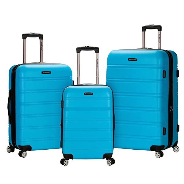 Rockland Melbourne 3 Pc Abs Luggage Set Red