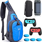 YB-OSANA 5in1 Game Console Crossbody Travel Bag Case +Hard Case Bag + Switch Screen Protector +2-Pack Joycon Controller Handle Grips + Switch Joycon Thumb Grips For Nintendo Switch Travel Accessory