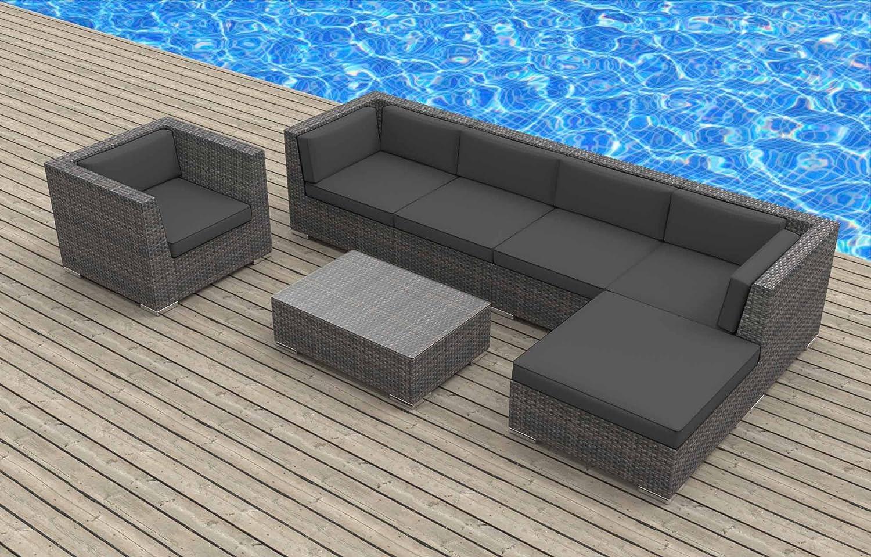 UrbanFurnishing.net - LANAI 7pc Modern Outdoor Backyard Wicker Rattan Patio Furniture Sofa Sectional Couch Set at Sears.com