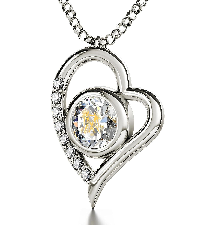 Silberne Zwillinge-Halskette – Herz-Anhänger mit Zodiac Astrozeichen-Beschriftung in 24k Gold auf kristallenem Zirkonia-Edelstein – Geburtstags-Schmuck online bestellen