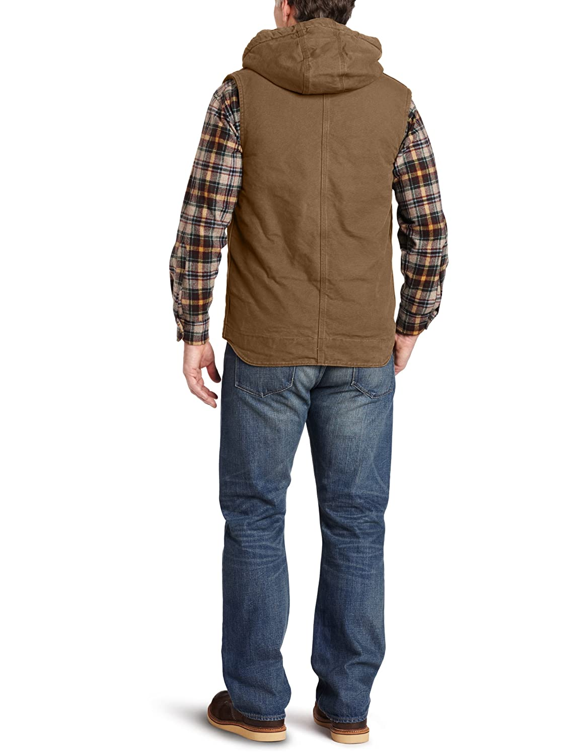 Carhartt Men's Big-Tall Sandstone Duck Hooded Multi Pocket Vest Sherpa Lined