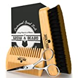 Beard Grooming Kit ( Brush - Comb - Scissor ) For Men Care / Boar Bristle Brush Great For All Beard Style - Wood Mustache Comb Ideal For Home & Travel - Stanley Steel Trimming Scissor For Best Styling