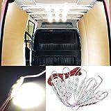 12V 60 LEDs Van Interior Light Kits, Ampper LED Ceiling Lights Kit for Van Boats Caravans Trailers Lorries Sprinter Ducato Transit VW LWB (20 Modules, White)