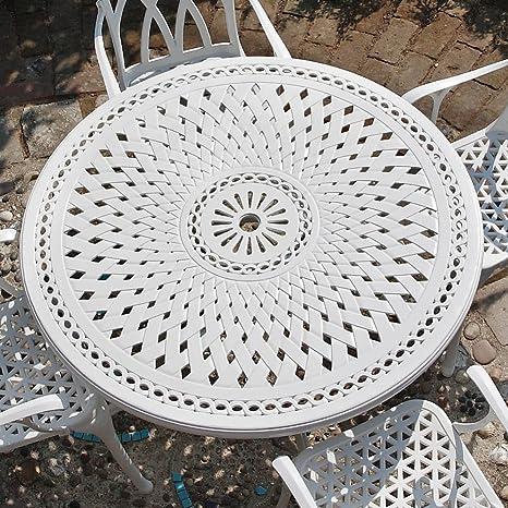 Weißes Alice 120cm Rundes Aluminium Gartenmöbelset - 1 Weißer ALICE Tisch + 4 Weiße JANE Stuhle