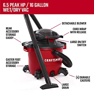 CRAFTSMAN CMXEVBE17607 16 gallon 6.5 Peak Hp Wet/Dry Vac with Detachable Leaf Blower, Heavy-Duty Shop Vacuum with Attachments (Tamaño: 16 Gallon 6.5 Peak HP)